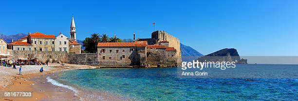 Budva Old Town and beach panorama, Montenegro
