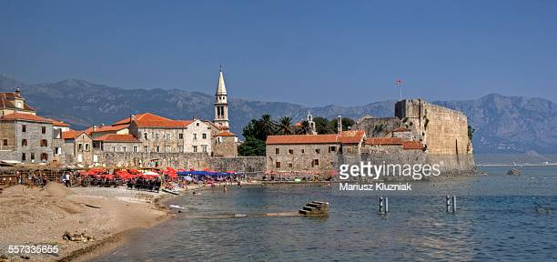 Budva old town harbour beach and mountains view