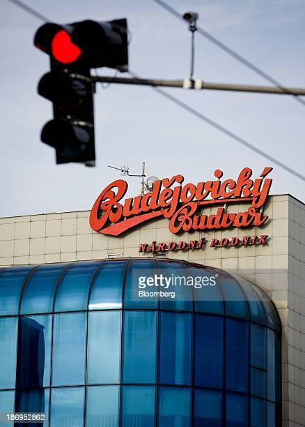 A Budweiser Budvar logo stands on display above offices at the headquarters of Budejovicky Budvar NP the Czech brewer in Ceske Budejovicky Czech...