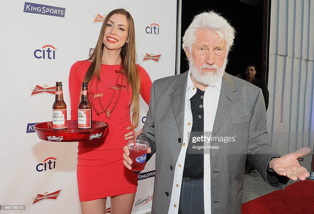 A Budweiser model and guest attend Boxing at Barker presented by Budweiser at Barkar Hangar on April 16, 2014 in Santa Monica, California.