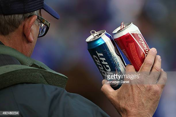 Budweiser vendor sells beer prior to game four of the National League Division Series between the Chicago Cubs and the St Louis Cardinals at Wrigley...