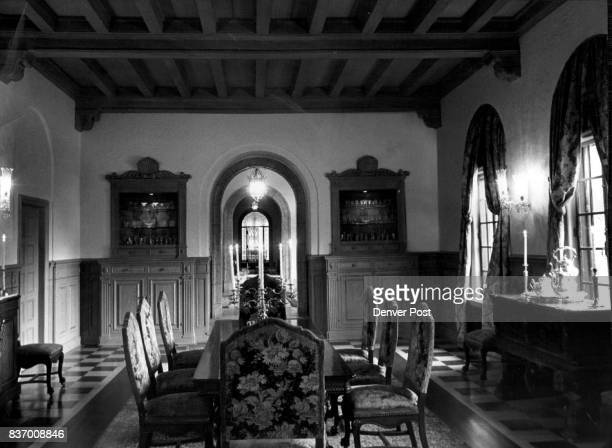 Buell McIntosh Mrs Formal dining room to the left of main entrance hallway resembles settings of longago gals for nobility in manor houses on the...