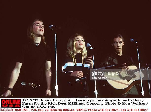 Buena Park CA Hanson performing at Knotts Berry Farm for the Rick Dees KIISmas Concert Taylor Zachary Isaac