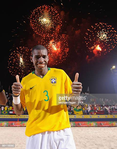 Bueno of Brazil celebrates under fireworks after winning the Group D FIFA Beach Soccer World Cup match between Bahrain and Brazil on November 17 2009...