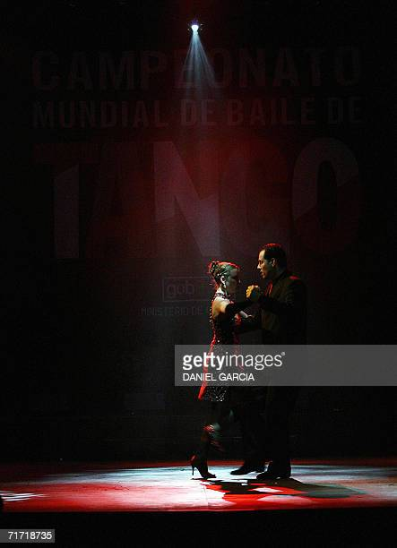 Aurya Pires and Bobi Cunha a couple from Brazil perform 'Libertango' during the semifinal of the Tango Escenario competition at the IV World Tango...