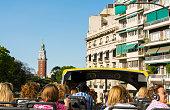 Buenos Aires Argentina La Boca double decker tourist bus with people traveling around city sites