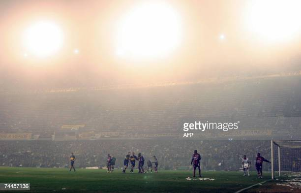 View of the foggy field during the Cucuta Deportivo and Boca Juniors semifinal football match of the Copa Libertadores 2007 at La Bombonera stadium...