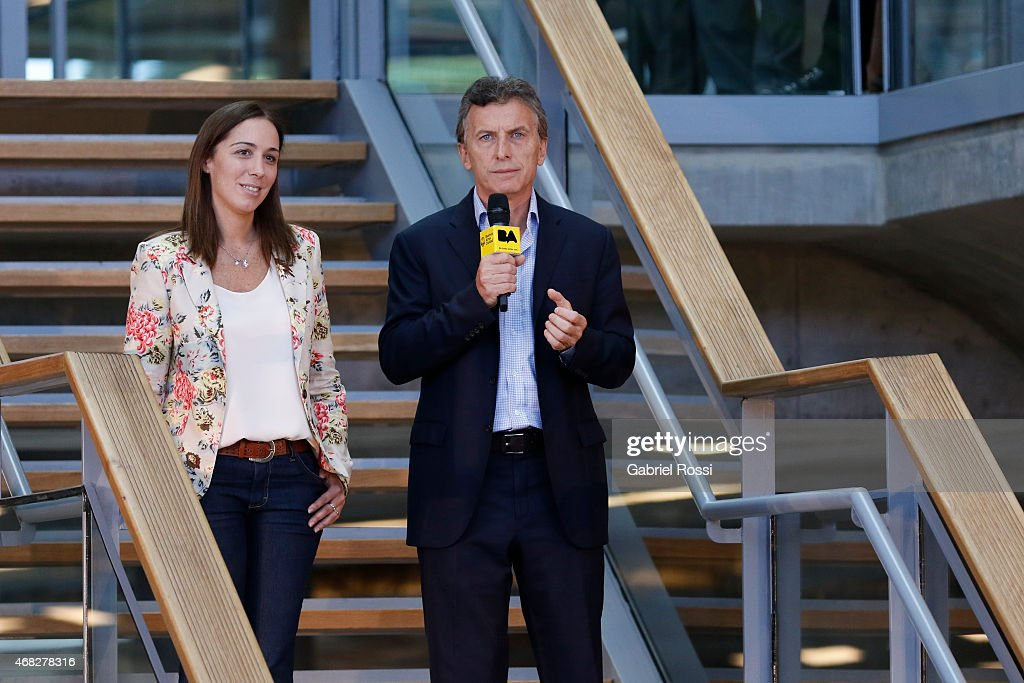Buenos Aires City Mayor and candidate for President Mauricio Macri (R) and Vice-Mayor Maria Eugenia Vidal during the official ceremony to inaugurate the new headquarters of Buenos Aires City Government at Centro Civico Parque Patricios on April 01, 2015 in Buenos Aires, Argentina. The headquarters government have been moved from their long-standing offices on the Plaza de Mayo to the south of the city in Parque Patricios neighbourhood. The building, designed by multiple award-winning British architect Norman Foster contains a number of wholly sustainable features.