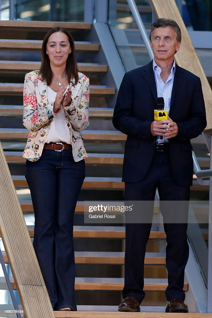 Buenos Aires City Mayor and candidate for President Mauricio Macri (R) and Vice-Mayor Maria Eugenia Vidal during the official ceremony to inaugurate the new headquarters of Buenos Aires City Government at Centro Civico Parque Patricios on April 01, 2015 in Buenos Aires, Argentina. The headquarters government have moved from their long-standing offices on the Plaza de Mayo to the south of the city in Parque Patricios neighbourhood. The building, designed by multiple award-winning British architect Norman Foster contains a number of wholly sustainable features.