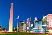 The Obelisk of Buenos Aires (left), the blurred cars and buildings in famous and busy 9 de Julio Avenue