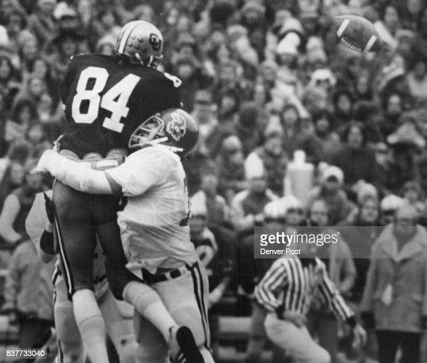 Buff End Absorbs Undeserved Punishment Bob Niziolek Colorado tight end is smashed by unidentified Kansas tackler as pass from Jeff Knapple goes...