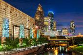 Buffalo Bayou, Houston Skyline, Texas, America