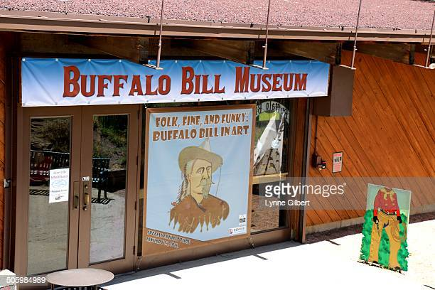 Buffalo Bill museum entrance and sign in Golden Colorado and where his grave is