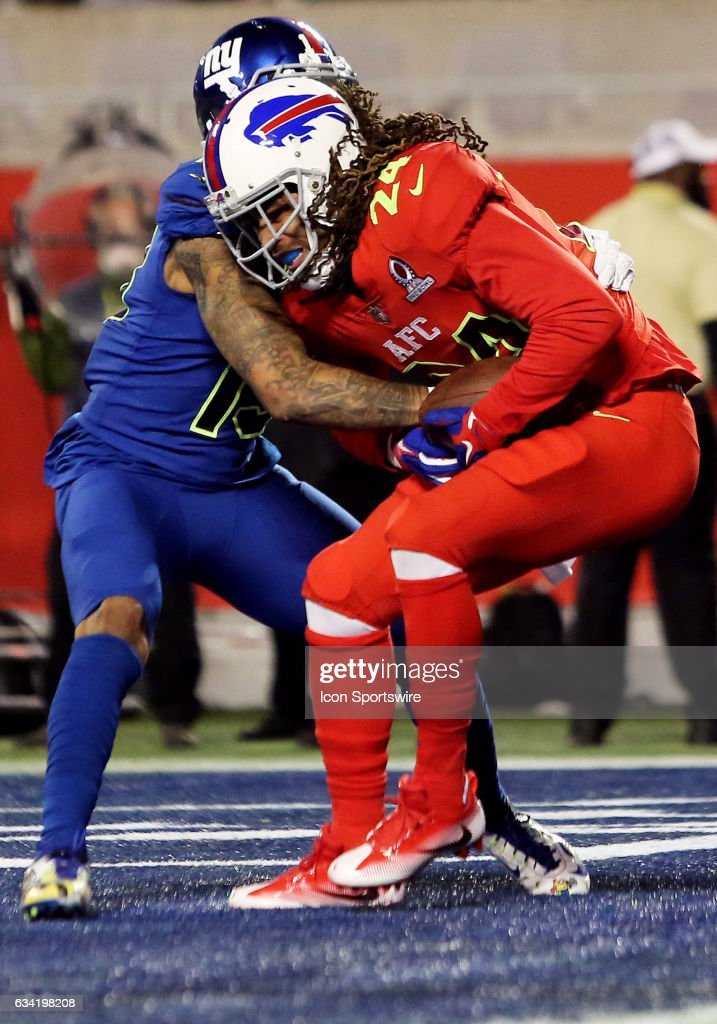 Buffalo Bills cornerback Stephon Gilmore (24) intercepts a pass intended for New York Giants wide receiver Odell Beckham Jr. (13) during the 2017 Pro Bowl at Camping World Stadium in Orlando, Florida.