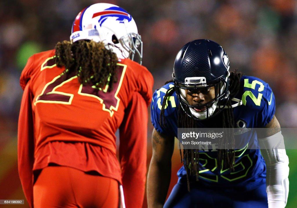 Buffalo Bills cornerback Stephon Gilmore (24) lines up against Seattle Seahawks cornerback Richard Sherman (25) during the 2017 Pro Bowl at Camping World Stadium in Orlando, Florida.