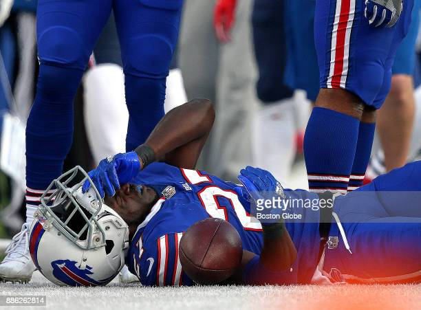 Buffalo Bills cornerback Tre'Davious White lays stunned on the field after he was landed on by New England Patriots tight end Rob Gronkowski The New...