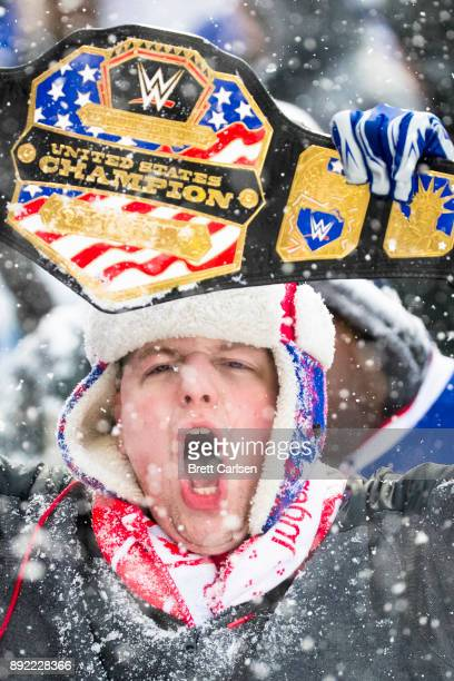 Buffalo Bills fan waives a WWE belt during the first half as he cheers during the game against the Indianapolis Colts at New Era Field on December 10...