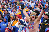 Buffalo Bills fan watches the game against the Green Bay Packers at Ralph Wilson Stadium on December 14 2014 in Orchard Park New York