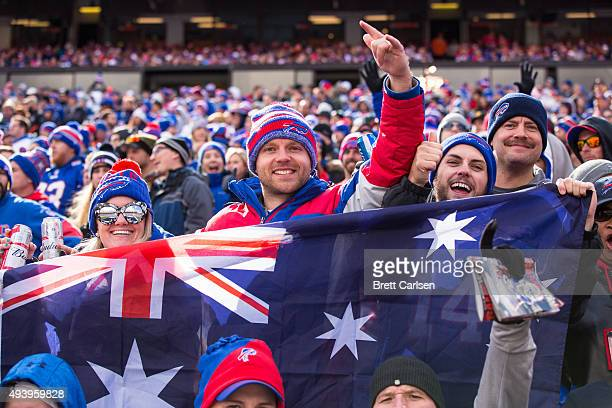 Buffalo Bills fans hold an Australian flag during the game against the Cincinnati Bengals on October 18 2015 at Ralph Wilson Stadium in Orchard Park...