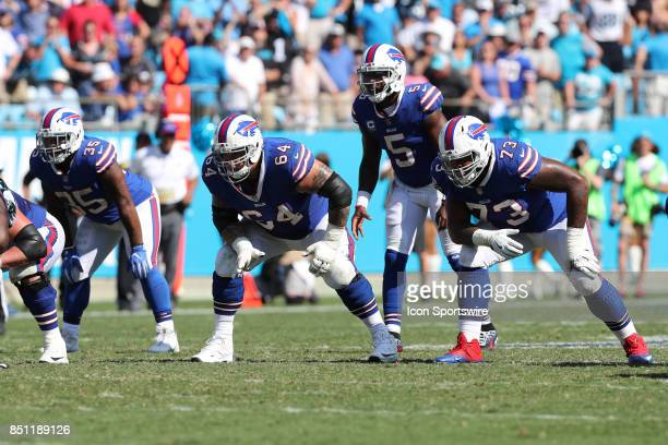 Buffalo Bills fullback Mike Tolbert offensive guard Richie Incognito quarterback Tyrod Taylor and offensive tackle Dion Dawkins during second half...