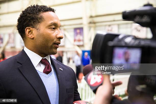 Buffalo Bills General Manager Doug Whaley addresses the media following a press conference announcing Rex Ryan's arrival as head coach of the Buffalo...