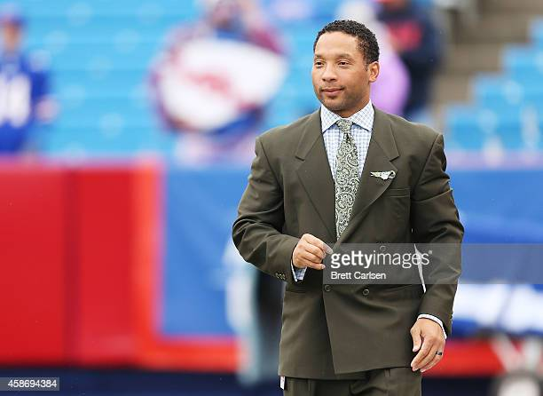 Buffalo Bills General Manager Doug Whaley watches the Buffalo Bills and the Kansas City Chiefs warm up on the sidelines before the first half at...