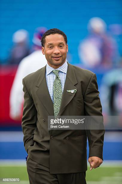 Buffalo Bills General Manager Doug Whaley watches the Buffalo Bills and the Kansas City Chiefs warm up on the sidelines before the first half on...