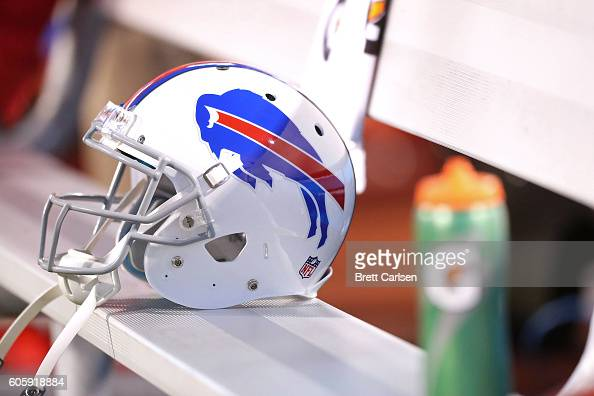 Buffalo Bills helmet sits on the bench before the game against the New York Jets at New Era Field on September 15 2016 in Orchard Park New York