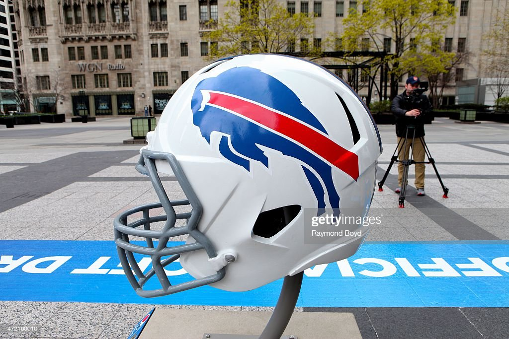 Buffalo Bills NFL football helmet is on display in Pioneer Court to commemorate the NFL Draft 2015 in Chicago on April 30 2015 in Chicago Illinois
