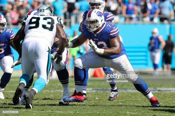 Buffalo Bills offensive tackle Dion Dawkins blocks Carolina Panthers defensive end Kyle Love during second half action between the Carolina Panthers...