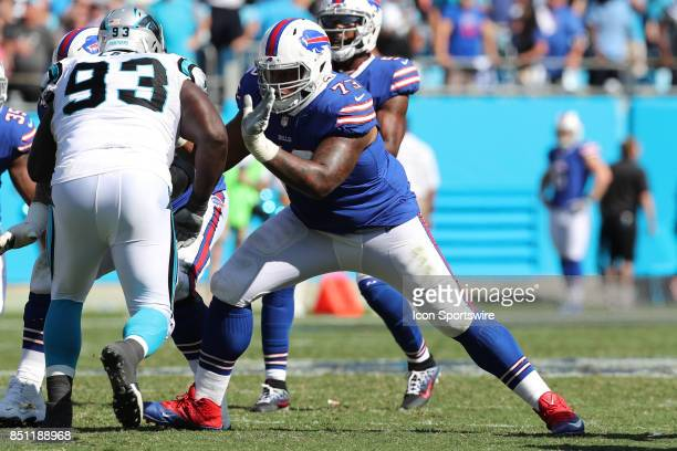 Buffalo Bills offensive tackle Dion Dawkins pass blocks during second half action between the Carolina Panthers and the Buffalo Bills on September 17...