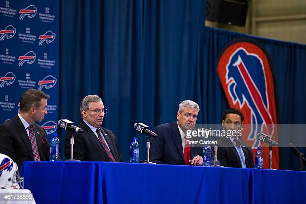 Buffalo Bills President Russ Brandon Owner Terry Pegula Head Coach Rex Ryan and Manager Doug Whaley speak at a press conference announcing Rex Ryan's...