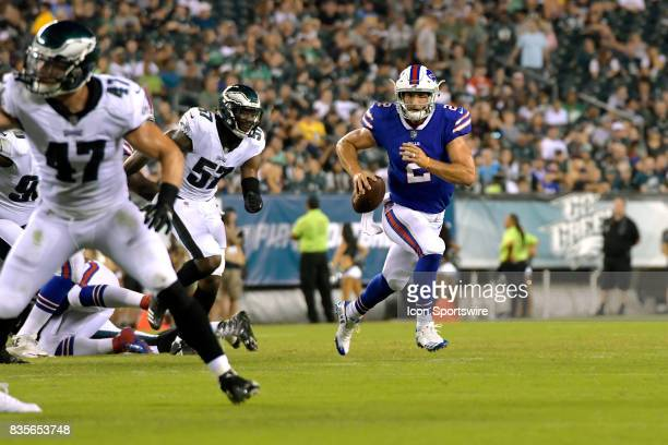 Buffalo Bills quarterback Nathan Peterman rolls to the outside during the NFL preseason game between the Buffalo Bills and the Philadelphia Eagles on...