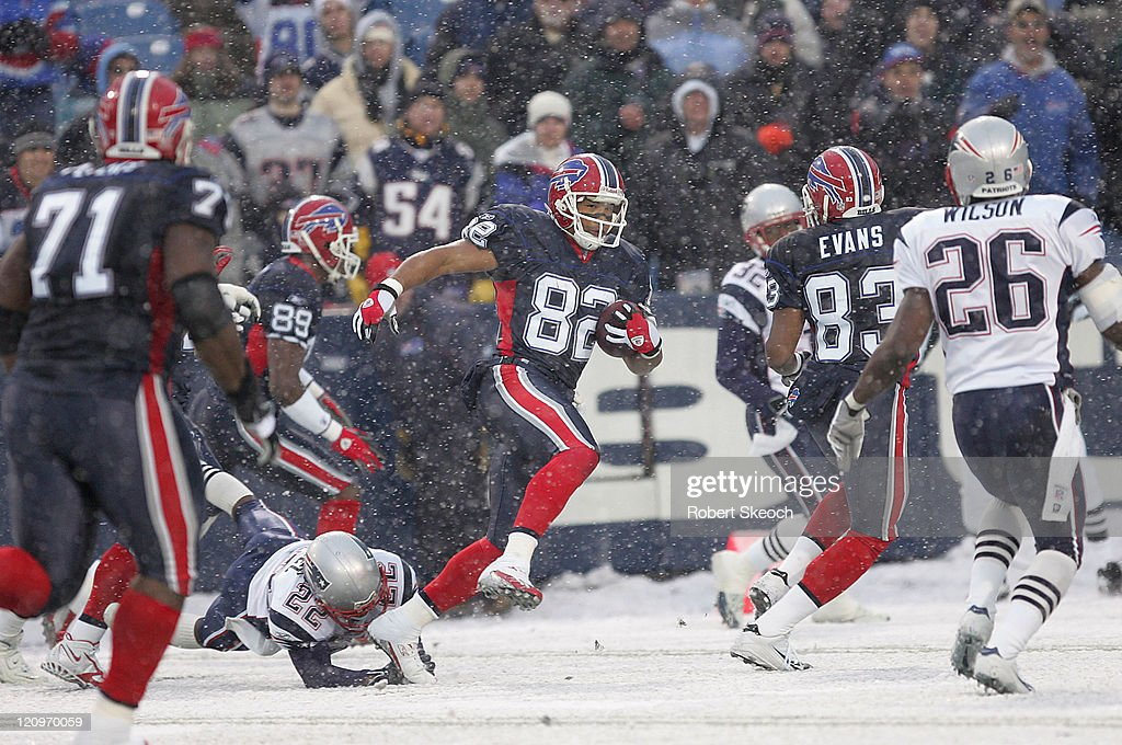 Buffalo Bills receiver Josh Reed scores a 51 yard TD during the game against the New England Patriots at Ralph Wilson Stadium in Orchard Park New...