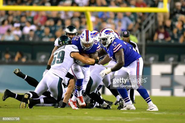 Buffalo Bills running back Joe Banyard charges up the middle during the NFL preseason game between the Buffalo Bills and the Philadelphia Eagles on...