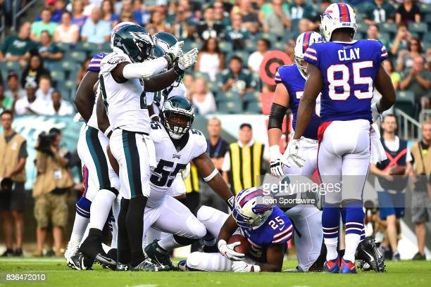 Buffalo Bills running back LeSean McCoy is tackled by Philadelphia Eagles defensive end Brandon Graham for a loss during a NFL preseason game between...