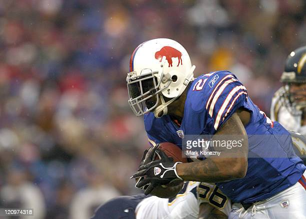 Buffalo Bills running back Willis McGahee gains several hard yards versus the San Diego Chargers at Ralph Wilson Stadium in Orchard Park New York on...