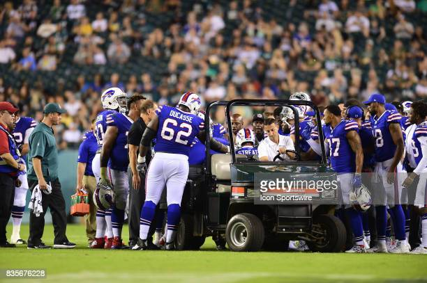 Buffalo Bills wide receiver Rod Streater is surrounded by teammates after his injury during a Preseason National Football game between the Buffalo...