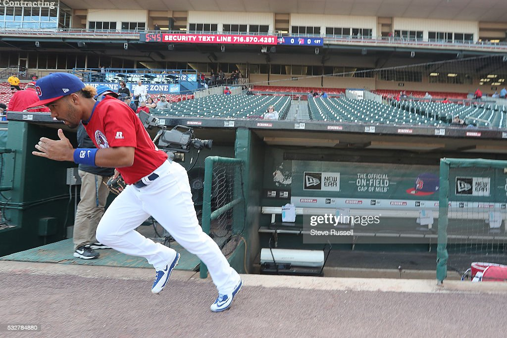 Buffalo Bisons second baseman Devon Travis runs out to warm-up as the Toronto Blue Jays triple-A farm team the Buffalo Bisons play the Pawtucket Red Sox at the Coca-Cola Field in Buffalo. May 19, 2016.