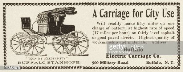 A Buffalo electric carriage is shown in an advertisement from 1901 The text in the ad promises that the carriage 'will readily make fifty miles on...