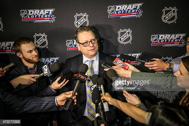 TORONTO ON APRIL 18 Buffalo General Manager Tim Murray reacts to loosing the draft lottery attend the NHL Draft Lottery media availability at the...