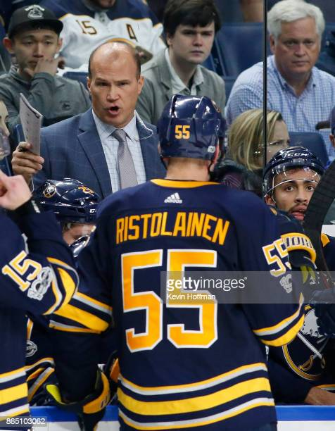 Buffalo Sabres assistant coach Davis Payne during the game against the Vancouver Canucks at the KeyBank Center on October 20 2017 in Buffalo New York