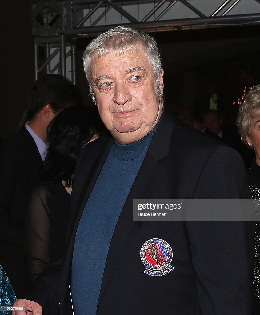 Buffalo Sabres broadcaster Rick Jeanneret arrives for the Hockey Hall of Fame induction ceremony at Brookfield Place on November 12, 2012 in Toronto, Canada.