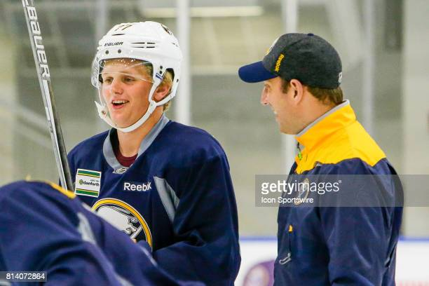 Buffalo Sabres Center Casey Mittelstadt jokes with coach during onice practice at the Buffalo Sabres Development Camp on July 10 at HarborCenter in...