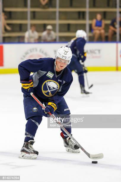 Buffalo Sabres Center Casey Mittelstadt performs stick handling drill during onice practice at the Buffalo Sabres Development Camp on July 10 at...
