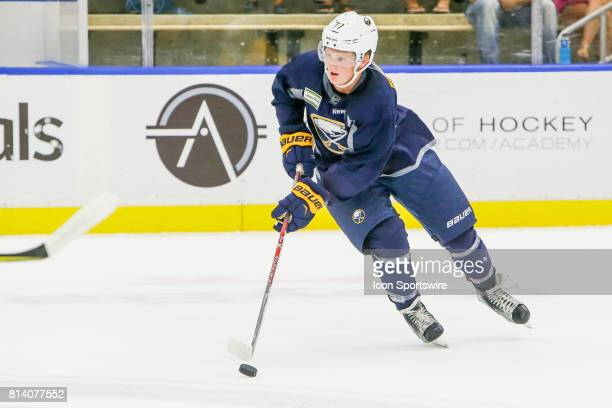 Buffalo Sabres Center Casey Mittelstadt skates with the puck during onice practice at the Buffalo Sabres Development Camp on July 10 at HarborCenter...