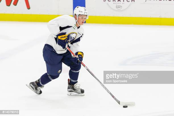 Buffalo Sabres Center Casey Mittelstadt skates with the puck during the French Connection Tournament at the Buffalo Sabres Development Camp on July...