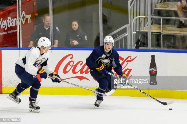 Buffalo Sabres Center Connor Hurley looks to pass as Buffalo Sabres Center Casey Mittelstadt defends during the French Connection Tournament at the...