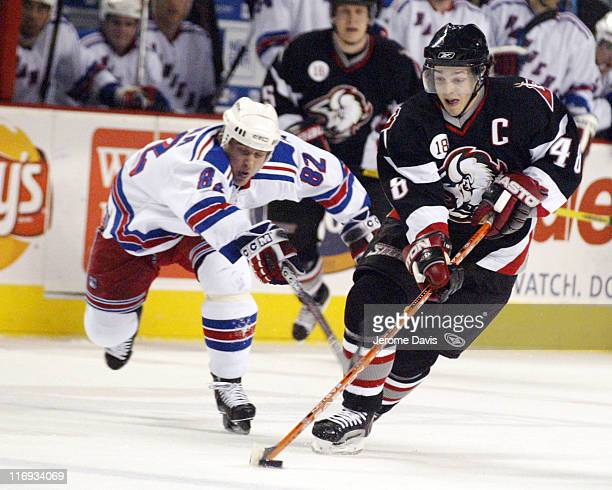 Buffalo Sabres' Daniel Briere skates away from Rangers' Martin Straka during a game against the New York Rangers at the HSBC Arena in Buffalo NY...