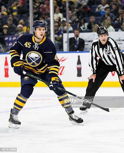 Buffalo Sabres defenseman Brendan Guhle skates after the puck during an NHL game between the Boston Bruins and Buffalo Sabres on December 03 at Key...